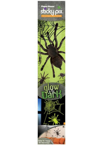 Glow in the Dark Spiders Sticky Pix Wall Decor (Available in a pack of 8)