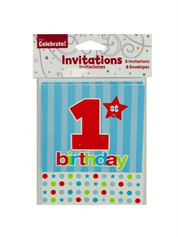 8 pack 1st birthday invites (Available in a pack of 24)