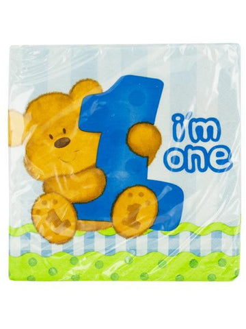 Boy's 1st Birthday Teddy Bear Party Napkins (Available in a pack of 24)