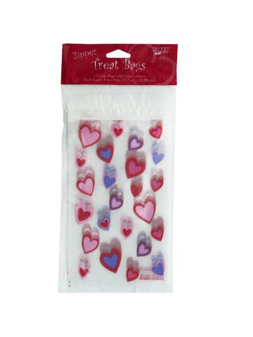Hearts Zipper Treat Bags (Available in a pack of 24)