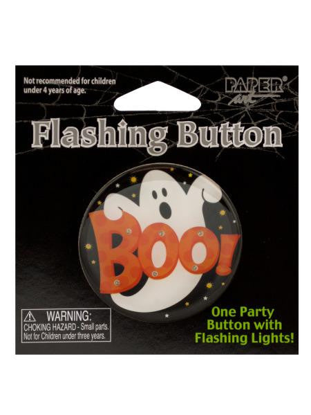 Halloween Flashing Boo Party Button (Available in a pack of 24)