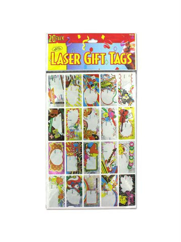 Laser sticker birthday gift tags, sheet with 20 stickers (Available in a pack of 24)