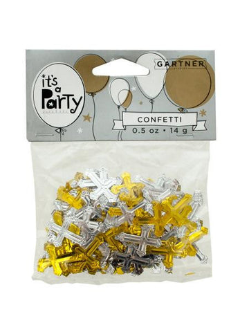 Gold and Silver Crosses Confetti (Available in a pack of 24)