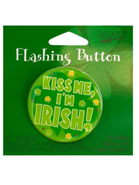 Kiss Me I'm Irish Flashing Party Button (Available in a pack of 24)