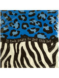 Blue Animal Print Birthday Beverage Napkins (Available in a pack of 24)