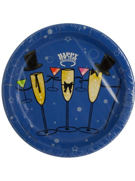 Happy New Year Champagne Toast Party Plates (Available in a pack of 24)