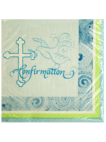Blue Faithful Dove Confirmation Beverage Napkins (Available in a pack of 24)