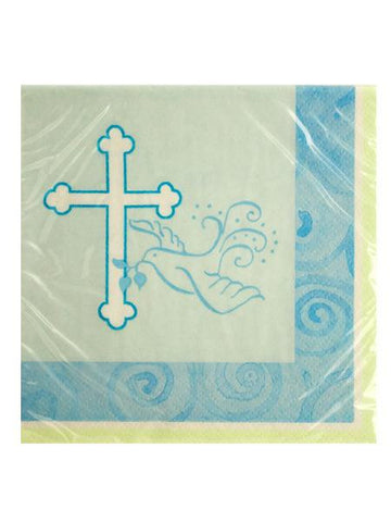 Blue Faithful Dove Beverage Napkins (Available in a pack of 24)