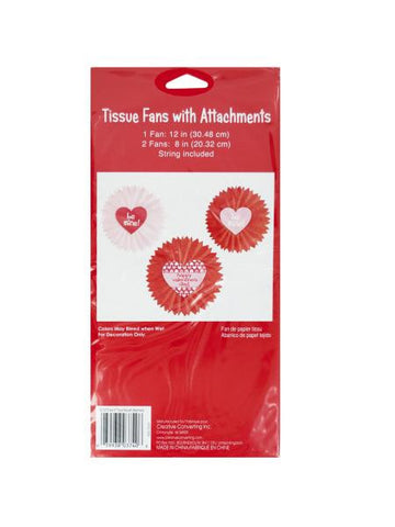 Valentine's Day Tissue Fan Hanging Decorations (Available in a pack of 24)