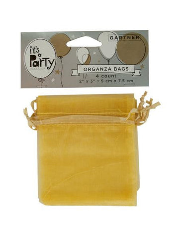 Gold Organza Bags with Ribbon Ties (Available in a pack of 24)