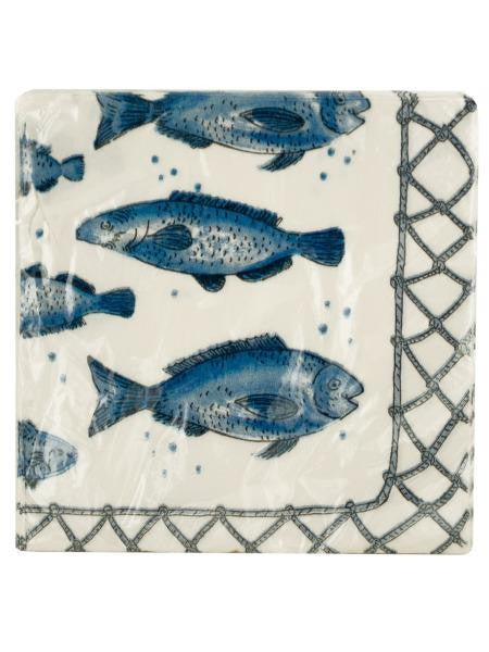 Blue Fish Print Cocktail Napkins (Available in a pack of 24)