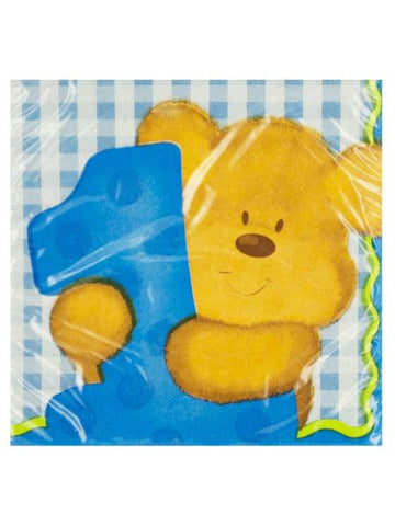 Boy's First Birthday Blue Beverage Napkins (Available in a pack of 24)