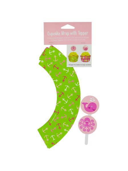 Girl's Ocean Preppy Cupcake Wraps & Toppers (Available in a pack of 24)