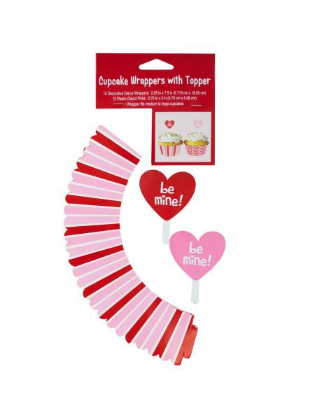 Valentine's Day Cupcake Wraps & Toppers Set (Available in a pack of 24)