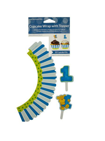 Boy's 1st Birthday Cupcake Wraps & Toppers Set (Available in a pack of 24)