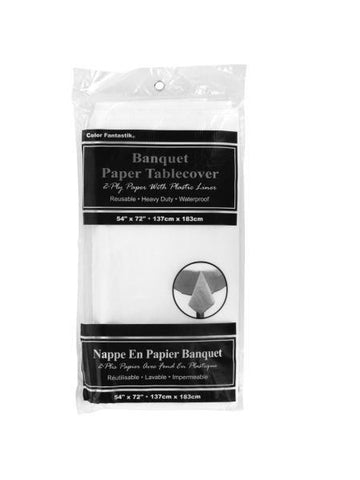 Waterproof White Banquet Paper Tablecover (Available in a pack of 24)