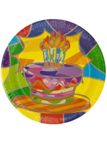 Birthday Cake Party Dinner Plates (Available in a pack of 24)