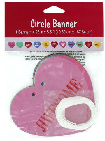 Candy Hearts Circle Ribbon Banner (Available in a pack of 24)