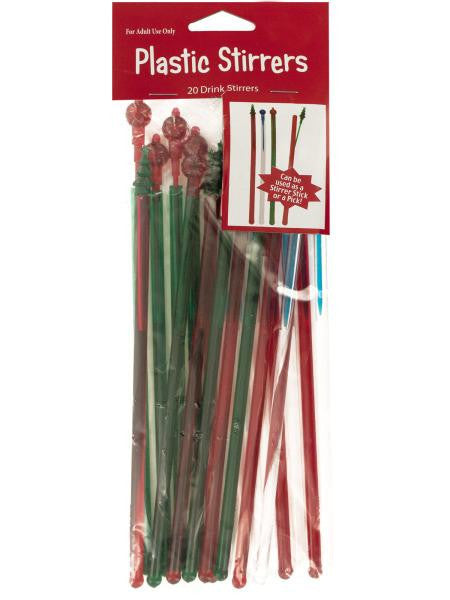 Holiday Plastic Drink Stirrer Sticks (Available in a pack of 24)