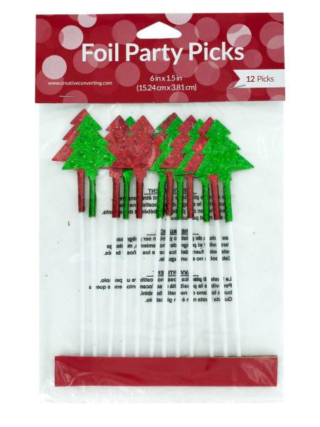 Christmas Tree Foil Party Picks (Available in a pack of 24)
