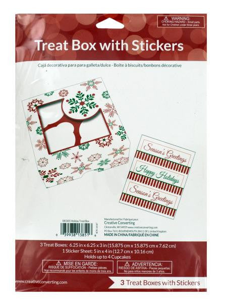Holiday Treat Boxes with Stickers (Available in a pack of 18)