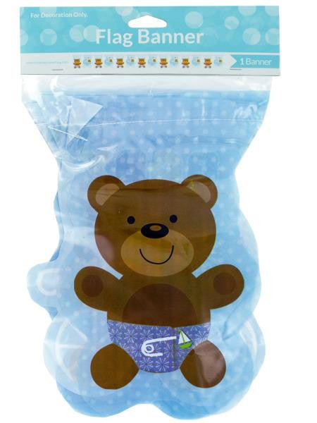 Blue Teddy Bear Baby Pattern Flag Banner (Available in a pack of 24)