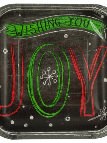 Chalk Messages Holiday Joy Party Plates (Available in a pack of 24)
