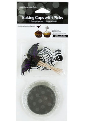 Halloween Baking Cups with Bat & Skeleton Picks (Available in a pack of 24)