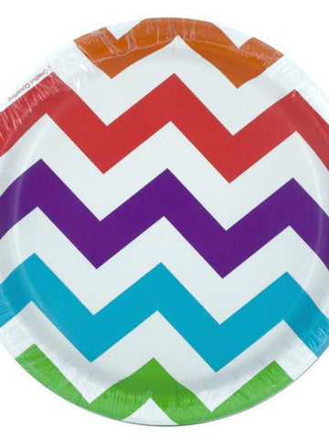 Colorful Chevron Party Plates (Available in a pack of 24)