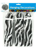 Zebra Tissue Pom-Pom Hanging Decorations (Available in a pack of 20)