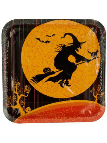 Witches Crossing Square Halloween Plates (Available in a pack of 24)