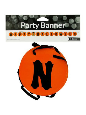 Happy Halloween Party Banner with Skeleton (Available in a pack of 24)