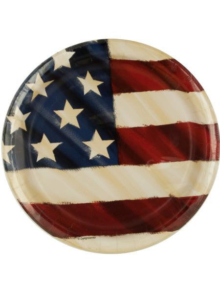 Rustic Flag Patriotic Party Plates (Available in a pack of 24)