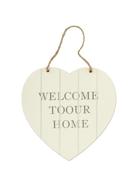 Welcome Heart Shaped Wall Plaque (Available in a pack of 16)