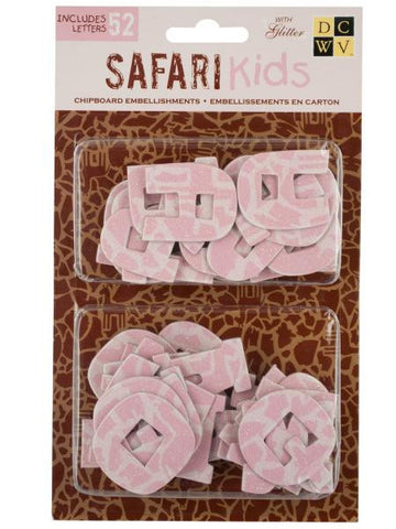 Safari Kids Alphabet Chipboard Embellishments (Available in a pack of 24)