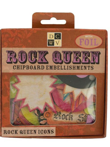 Rock Queen Chipboard Embellishments with Foil (Available in a pack of 24)