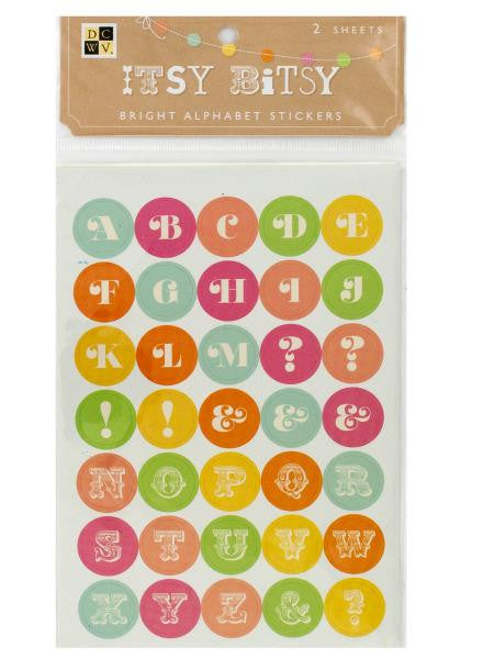 Itsy Bitsy Bright Alphabet Stickers (Available in a pack of 24)
