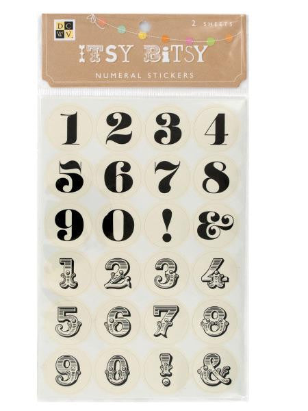 Itsy Bitsy Neutral Numeral Stickers (Available in a pack of 24)