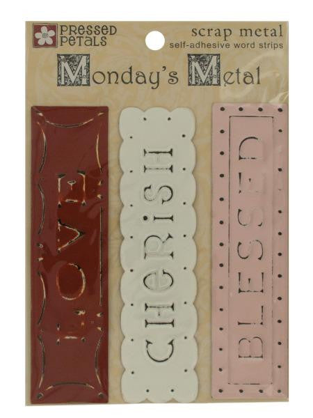 Scrap Metal Self-Adhesive Word Strips (Available in a pack of 30)