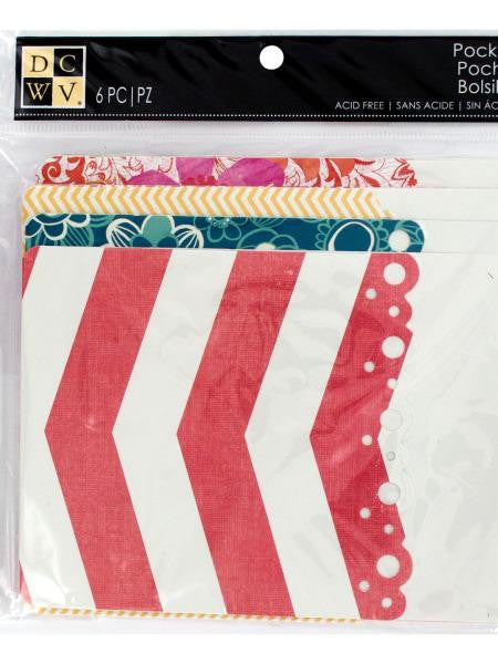 Designer Printed Scrapbooking Pockets (Available in a pack of 24)
