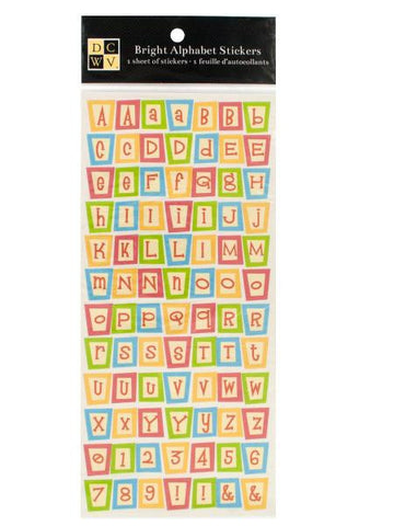 Bright Square Alphabet Stickers (Available in a pack of 24)