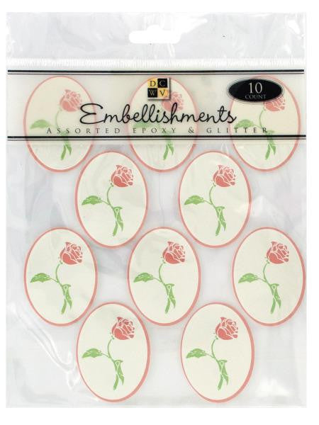 Rose Epoxy Embellishment Stickers (Available in a pack of 24)