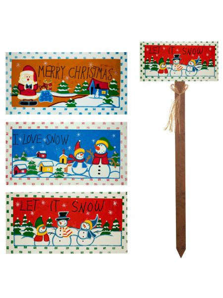 Holiday Greetings Wood Yard Stake (Available in a pack of 9)
