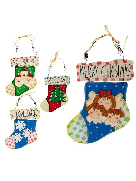 Wood Holiday Stocking Wall Plaque (Available in a pack of 12)
