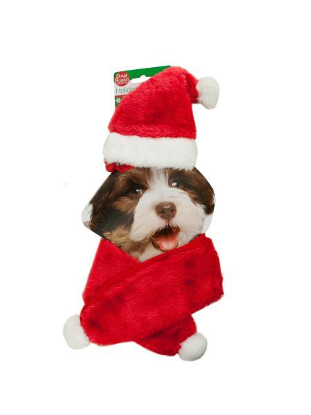 Holiday Pet Santa Hat & Scarf Set (Available in a pack of 4)