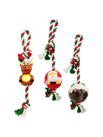 Holiday Squeaky Knotted Rope Dog Toy (Available in a pack of 6)