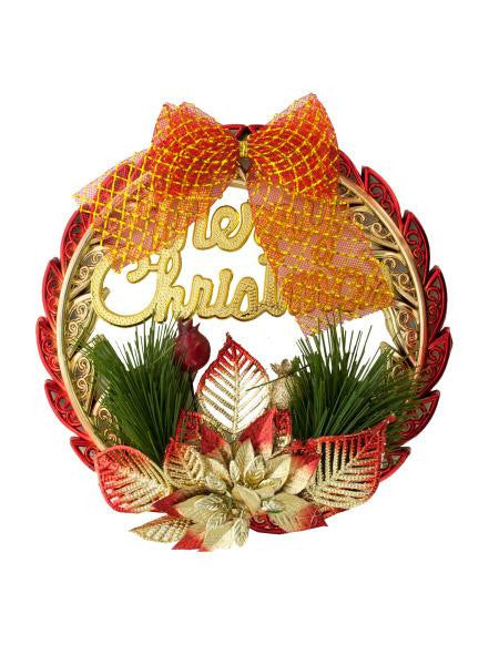 Merry Christmas Wreath Hanging Decoration (Available in a pack of 22)