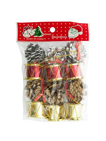 Christmas Drums-Pinecones Ornaments Set (Available in a pack of 24)