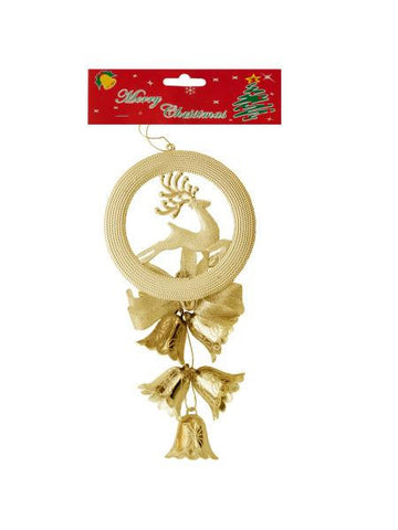 Christmas Bells-Reindeer Hanging Decoration (Available in a pack of 24)