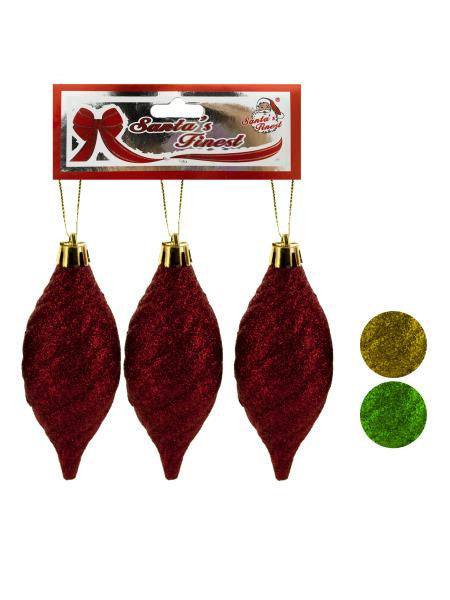 Christmas Glitter Swirl Drop Ornament Set (Available in a pack of 18)